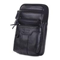 YIANG Men Cell Phone Case Waist Bag CrossBody Belt Pack Casual Purse Multi Pocket Genuine Leather Small Messenger Shoulder Bag