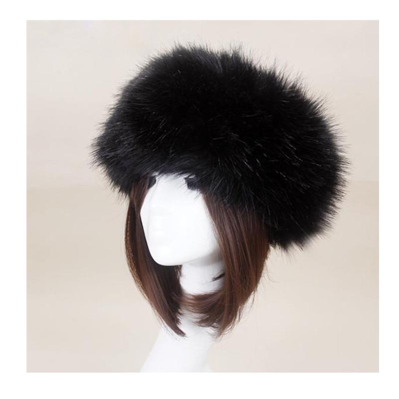Mulheres Grossas de Inverno Fluffy Russo Cap Faux Fur Earwarmer Headband Hat Lady Inverno Quente Chapéus De Esqui Quente