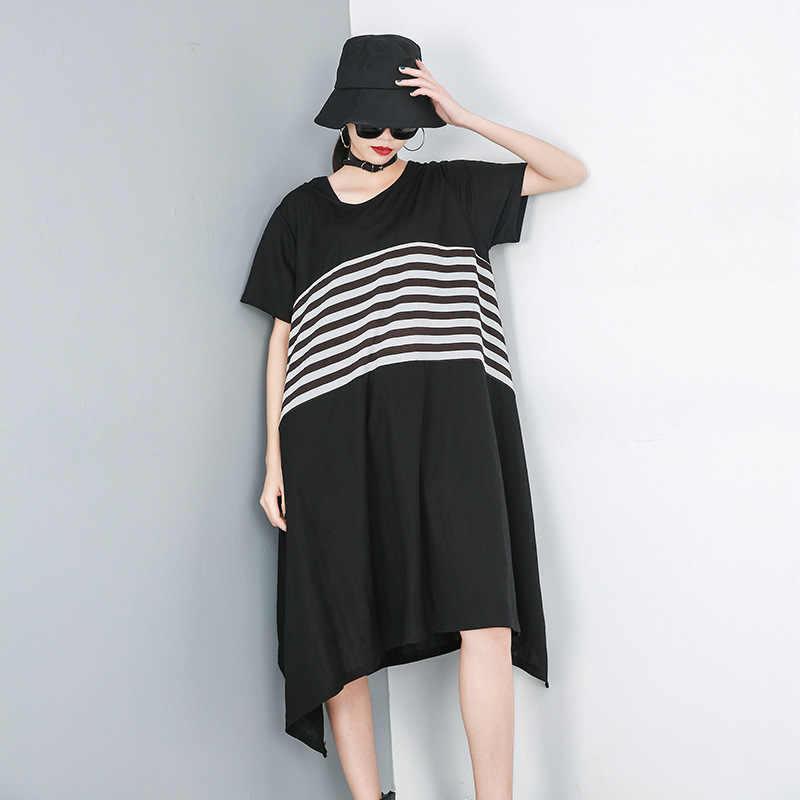 LANMREM 2019 летняя одежда для Новинки для женщин узор Разделение совместное полоса шею личность свободно нерегулярные платье прилив YH09501