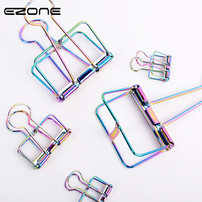EZONE 3Pcs/Set Metal Book Clips Hollow Paper Clips Bill Fold Electroplating Bookmark Kawaii Stationery Office School Supplies
