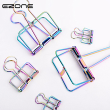 EZONE 3Pcs/Set Metal Book Clips Hollow Paper Bill Fold Electroplating Bookmark Kawaii Stationery Office School Supplies