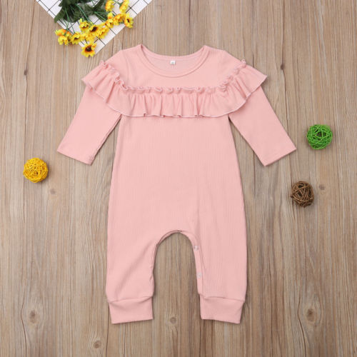Toddler Baby Girls Clothing Cotton Romper Long Sleeve Solid Ruffles Jumpsuit Outfits Clothes Playsuit Baby 0-18M