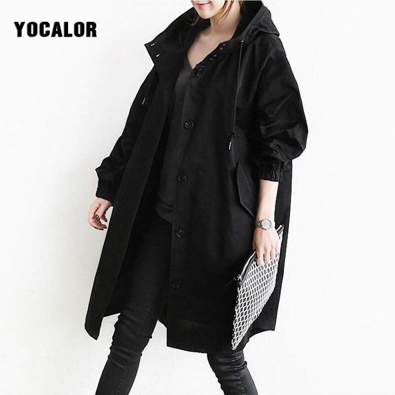 Autumn England Windbreaker Long Trench Female Overcoat Denim Cardigan Basic Hooded Coat For Women Oversize Cloak Black Gray