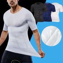 Dos homens emagrecimento shaper postura corrector compressão t-shirts controle de barriga corpo construção gordura burnning peito espartilho