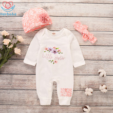 Herbabe 3Pcs Baby Girl Clothes Set Cute Floral Print Long Sleeves Girl Romper Newborn Kid Hat Headwear Outfit Sets Baby Clothing 2017 hot cute baby girl romper newborn baby girl floral peter pan collar romper lovely sun hat clothes outfits 0 3y baby clothes