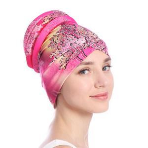 Image 5 - ファッションの女性イスラム教徒脱毛キャップフラワープリントイスラムイスラムターバンヘッドラップカバーがん化学及血キャップボンネットビーニー skullies