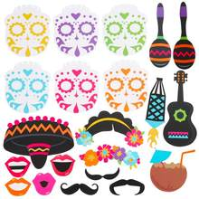 21 pcs Cinco de Mayo Photo Booth Props México Fiesta Fontes Do Partido Decoração Do Partido do Dia dos Mortos(China)