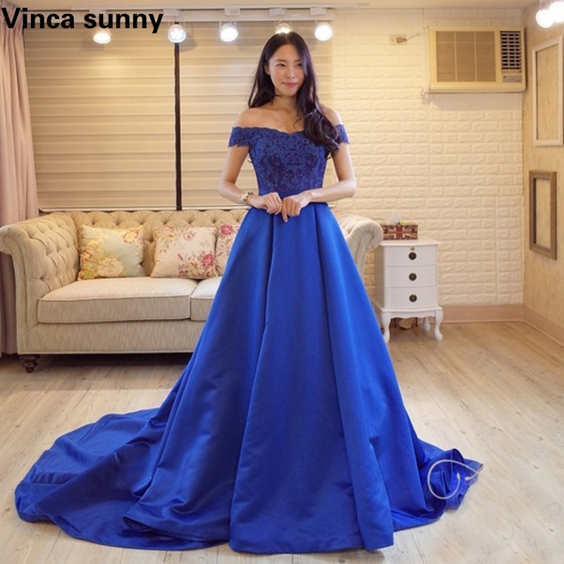 2019 Prom Dresses with V Neckline Blue Satin Prom Dress with Lace Puffy Formal Vestido De Festa Prom Gowns