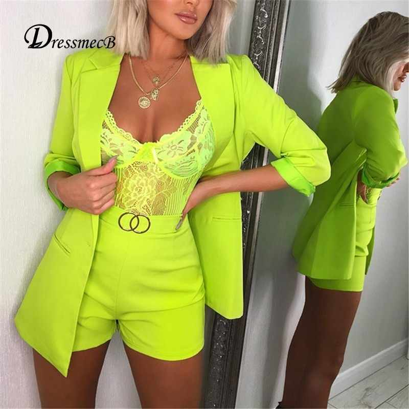 DRESSMECB Two Piece Set Top And Pants 2 Piece Set Women Office Pants Suits Sexy Long Sleeve Two Piece Outfits Summer Women Suit