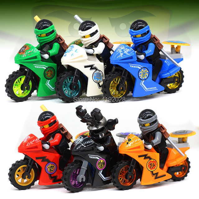 For legoing NinjagoES Ninja Motorcycle Figures Kai Jay Zane Nya Lloyd With Weapons Action Building blocks bricks toys legoings