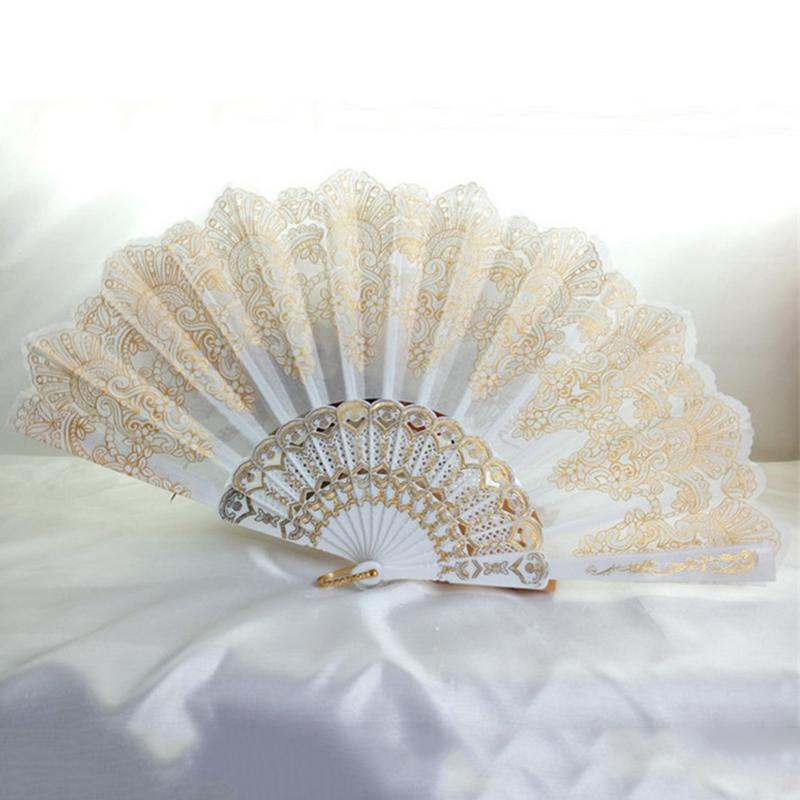 Spanish Style Hand Fan Dance Party Wedding Home Decoration Silk Flower Fan Lady Folding Hand Fans