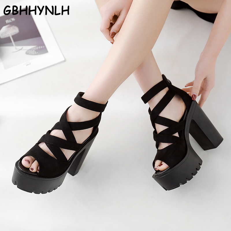 GBHHYNLH Thick Platform Punk shoes Rock Gothic Sandals Women Peep Toe Buckle Chunky Block High Heels