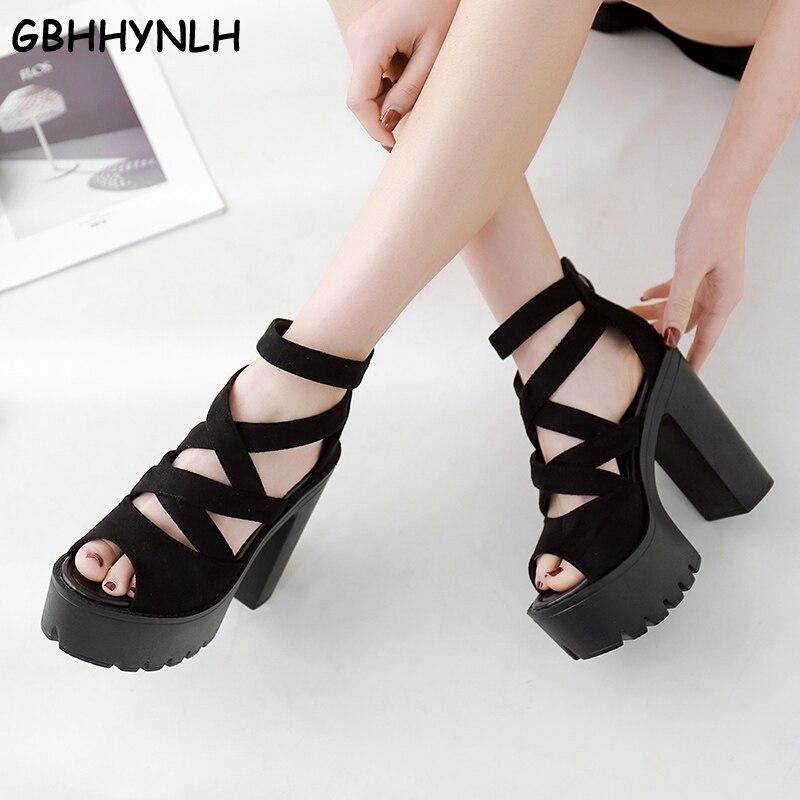 US $28.02 40% OFF|GBHHYNLH Thick Platform Punk shoes Rock Gothic Sandals Women Peep Toe Buckle Chunky Block High Heels female punk sandals LJA632 in
