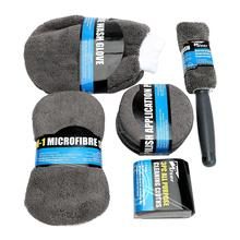9 PCS/Set Car Cleaning Kit Interior Exterior Cleaning Tools Car Wash Wool Brush Wash Gloves Auto Cash Microfiber Towel Sponge все цены