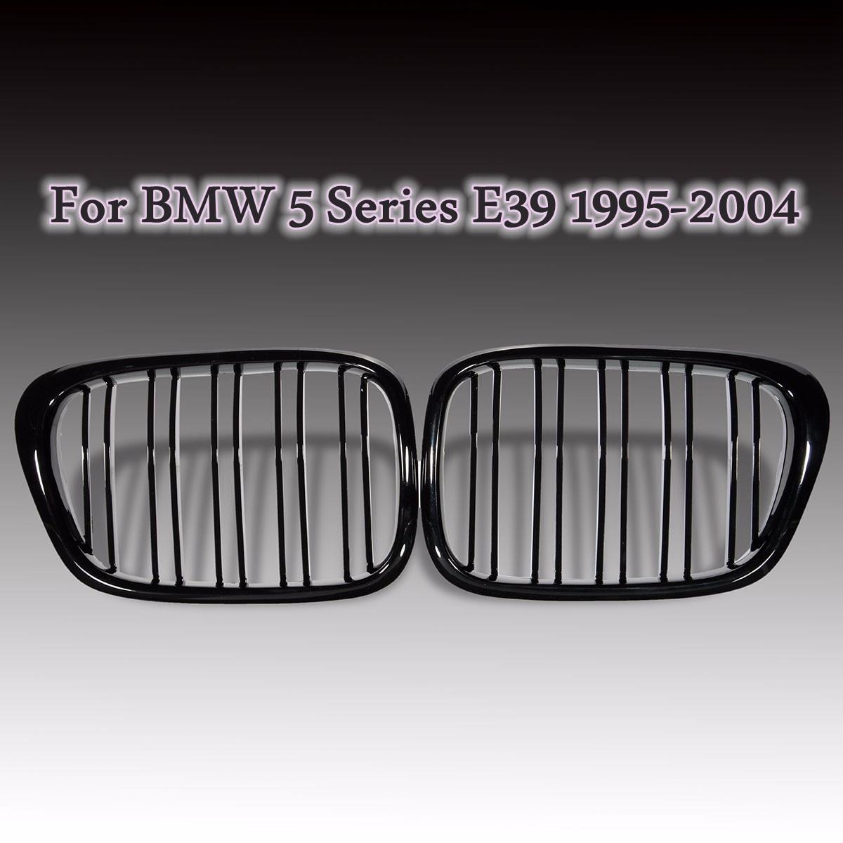 Paire Noir Brillant Avant Automatique Calandre Réniforme Grilles Pour BMW E39 M5 5 Série 525i 528i 530i 540i 1995-1999 2000 2001 2002 2004