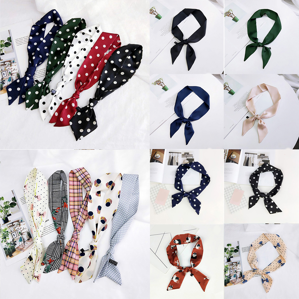 Fashion Polka Dot Floral Satin Small   Scarf   Neckerchief Women Elegant Sweet Head-Neck Hair Band Rope Bag Tie Wristband   Wrap