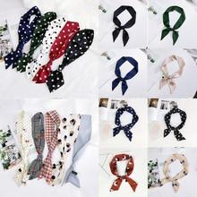 Fashion Polka Dot Floral Satin Small Scarf Neckerchief Women Elegant Sweet Head-