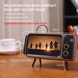 Image 4 - Retro Radio Speaker, Portable FM Speaker with BT AUX FM Function, Stereo Sound, TF Card Slot, Super Bass Speaker Phone Holder