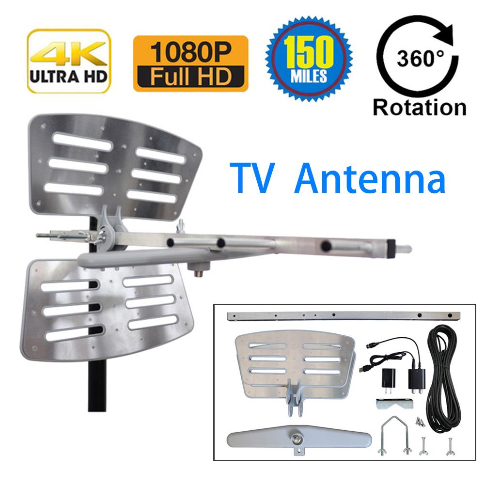 Image 2 - Outdoor Amplified Digital Antenna 360 Rotation HD TV UHF VHF FM 35dBi Long Range Antenna For ATSC HDTV 4K 1080P Power Adapter-in TV Antenna from Consumer Electronics