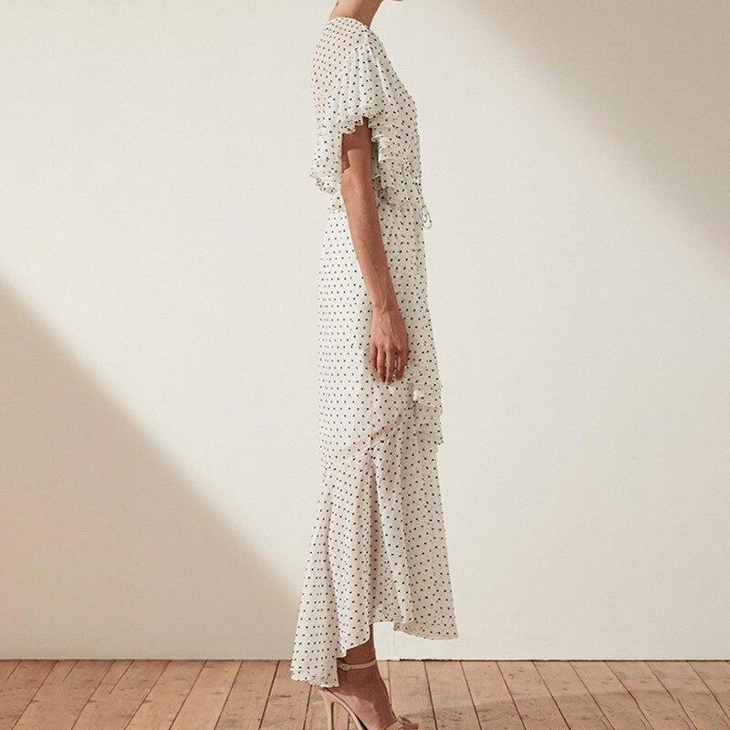 Deuxtwinstyle robe à pois femmes col en V taille haute Bandage volants manches courtes Maxi robes femme Vintage 2019 printemps nouveau-in Robes from Mode Femme et Accessoires    2