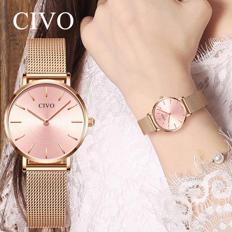 CIVO Fashion Ultra Thin Ladies Watches Women Waterproof Rose Gold Steel Mesh Quartz Bracelet Watch Women Clock Relogio Feminino