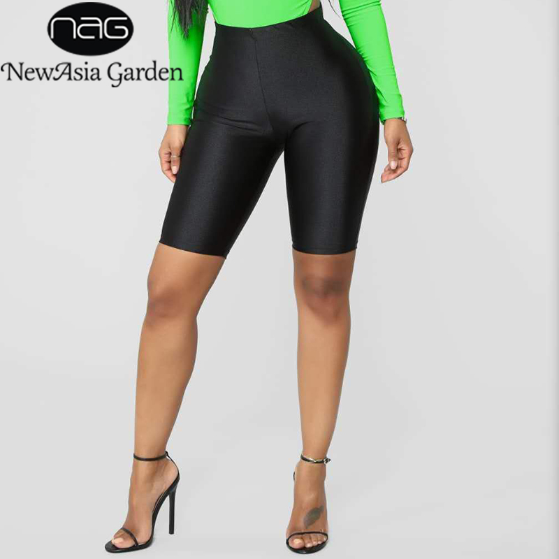 NewAsia Shiny Sexy High Waist   Shorts   Women Biker   Shorts   Summer Classic Casual Active Wear Gloss Slim Fit   Shorts   Women Fitness