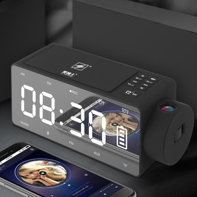 4in1 12V Smart Wireless Charger Fast For IPhone 6 7 8 X Mirror Projector LED Digital