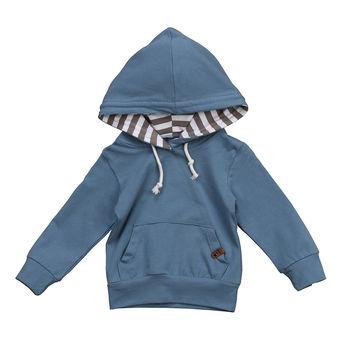 Long Sleeve Navy Blue Hoodie Top For Baby Boy Hooded Sweatshirt Autumn Winter Hoodies & Sweatshirts