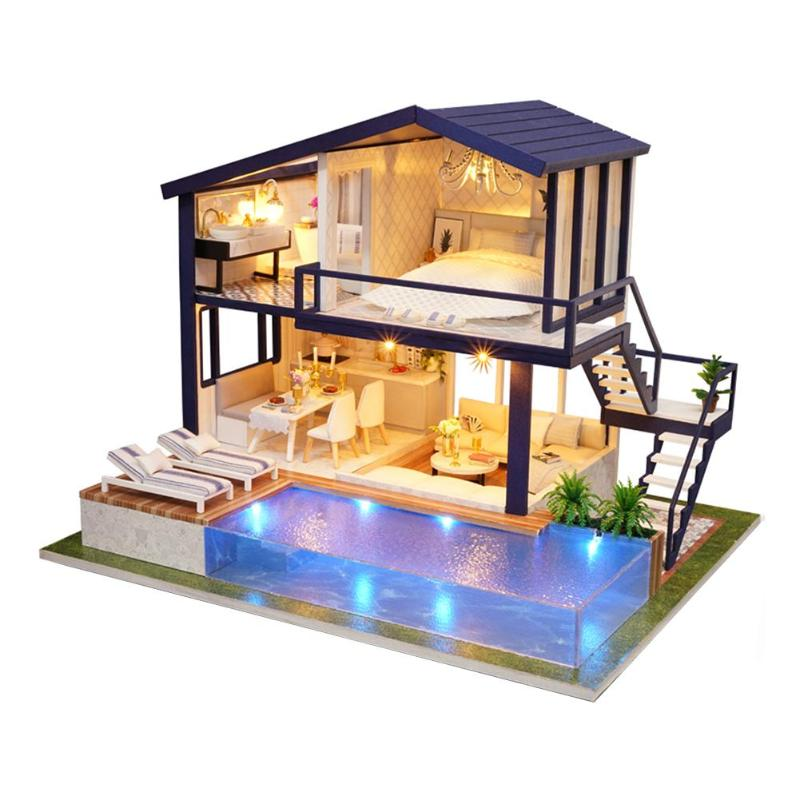 DIY 3D Wooden Dollhouse Mini House Furniture Apartment Doll Penthouse Furniture Swimming Pool Girl kids Gift Educational Toys(China)