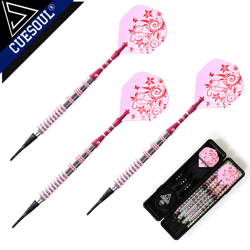 CUESOUL Professional Darts 17g 15cm Soft Tip Darts Electronic Dardos With Aluminum Alloy Shaft And Pink Flights Dartboard Games