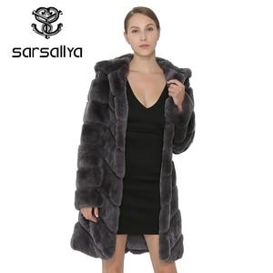 Image 3 - SARSALLYA Rex Rabbit Fur Coat Women Natural Fox Fur With Hooded Jacket Thick Coats Vest Warm Winter Womens Clothing Overcoat