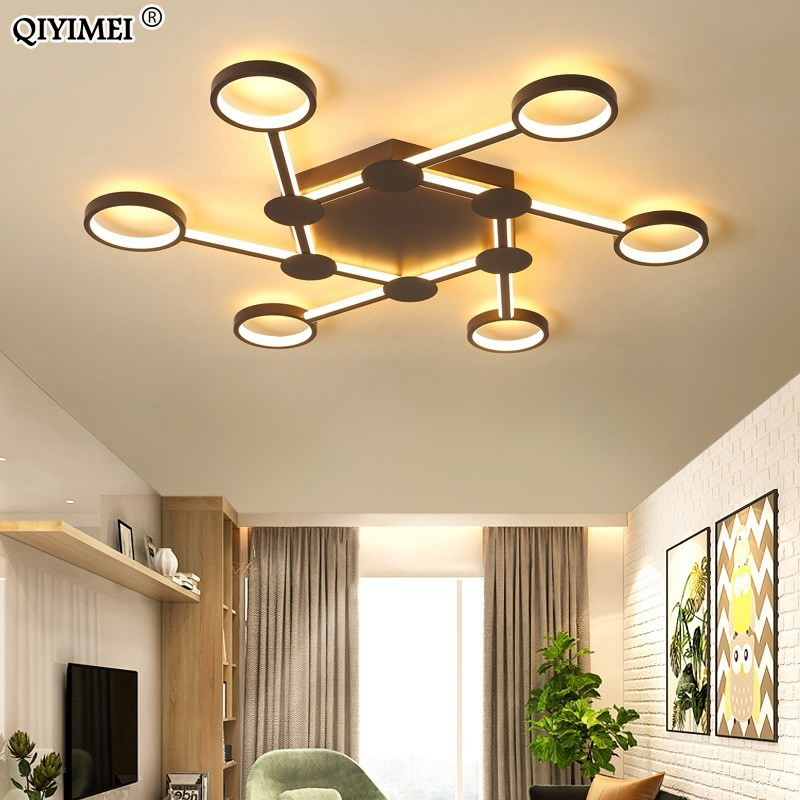 Modern Led Chandeliers Lights For Living Room Dimmable With Remote And Metal Frame Coffee Color Lights Bedroom Lighting FixturesModern Led Chandeliers Lights For Living Room Dimmable With Remote And Metal Frame Coffee Color Lights Bedroom Lighting Fixtures