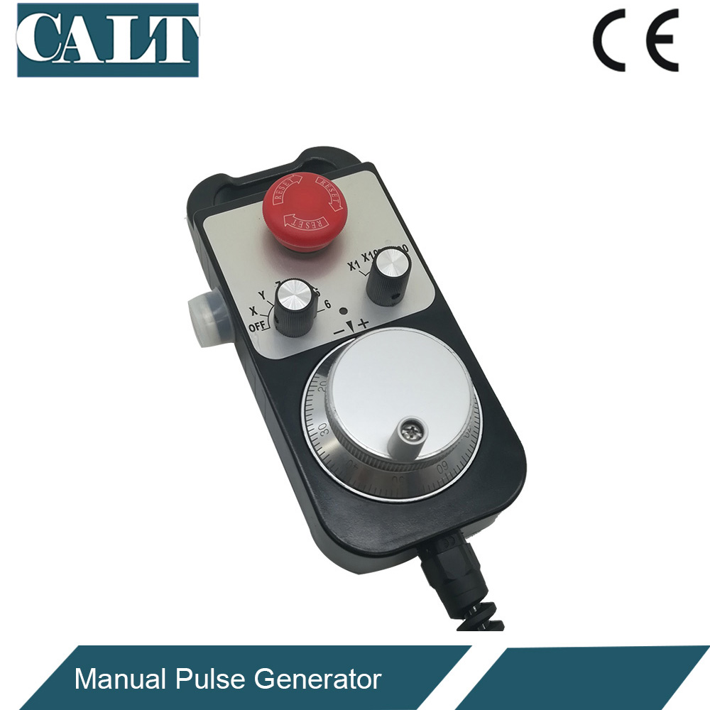 CALT manual pulse generator 6 axis cnc handheld encoder MPG TM1474 with E stop 5.8 meters spiral cable handy pulser mpg handwheel 4 axis 100ppr 5v 15v manual pulse generator use for fanuc fagor cnc system with cable