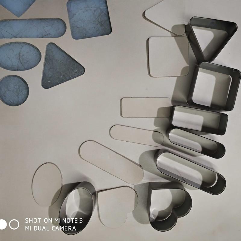 20 pcs DIY leather craft redonda retângulo Coração forma Quadrada rótulo morrer faca de corte do molde modelo de conjunto de ferramenta de perfuração