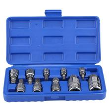 "10 Pcs Universale 12 Punto Triple Square Scanalato Bit Socket Set M4-M18 1/4 ""3/8"" 1/2 ""Drive di Riparazione tool Kit In Acciaio Al Cromo Vanadio"