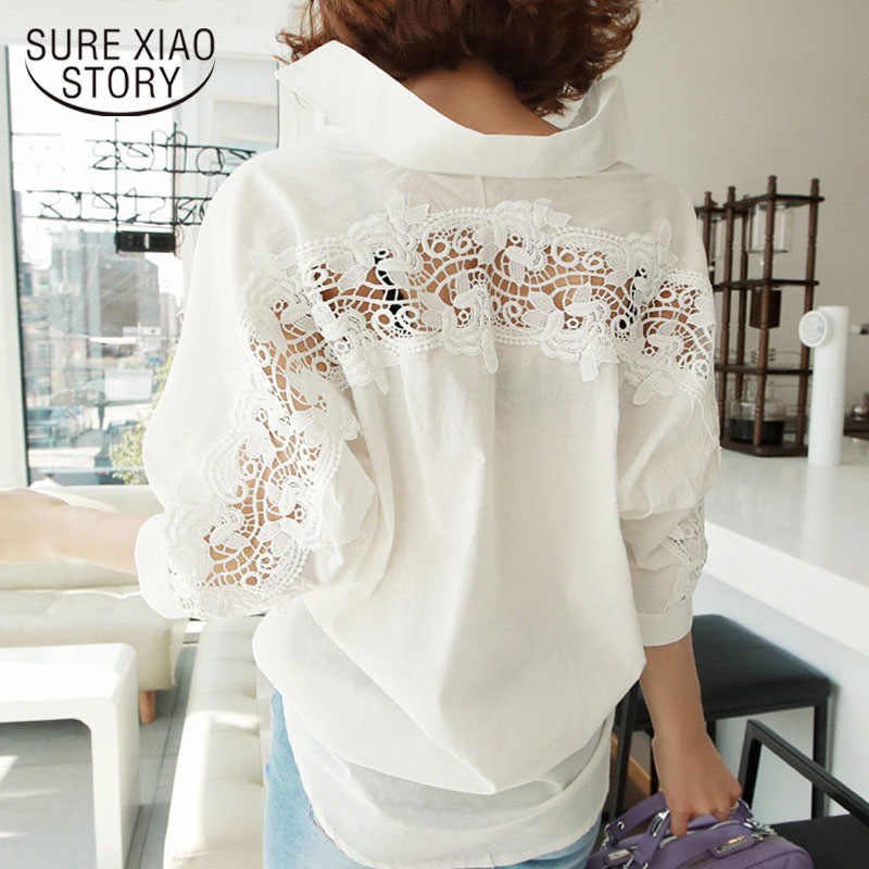 Mode vrouwen tops Zomer 2018 backless sexy Hollow Out Lace Blouse Shirt Dames casual Losse Witte kantoor blouse vrouwen 1310 40
