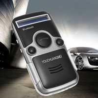 Solar Wireless Handsfree Bluetooth Car Kit Fm Stereo Transmitter LED Name Display Automatic Answer Audio Speakerphone
