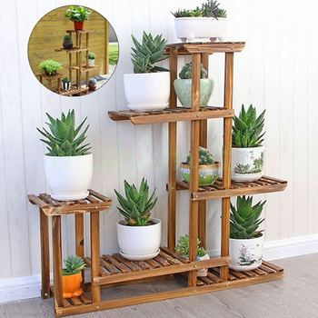 Wood Flower Pots | 5 Tier Indoor Outdoor Wooden Plant Flower Shelf Stand Garden FlowerPlanter Rack Nursery Pot Holder Hom Balcony Display Rack