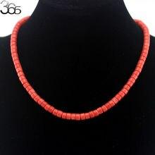 """4x6 мм, модные оранжевые/красные коралловые бусы, ювелирное ожерелье 17,5"""""""