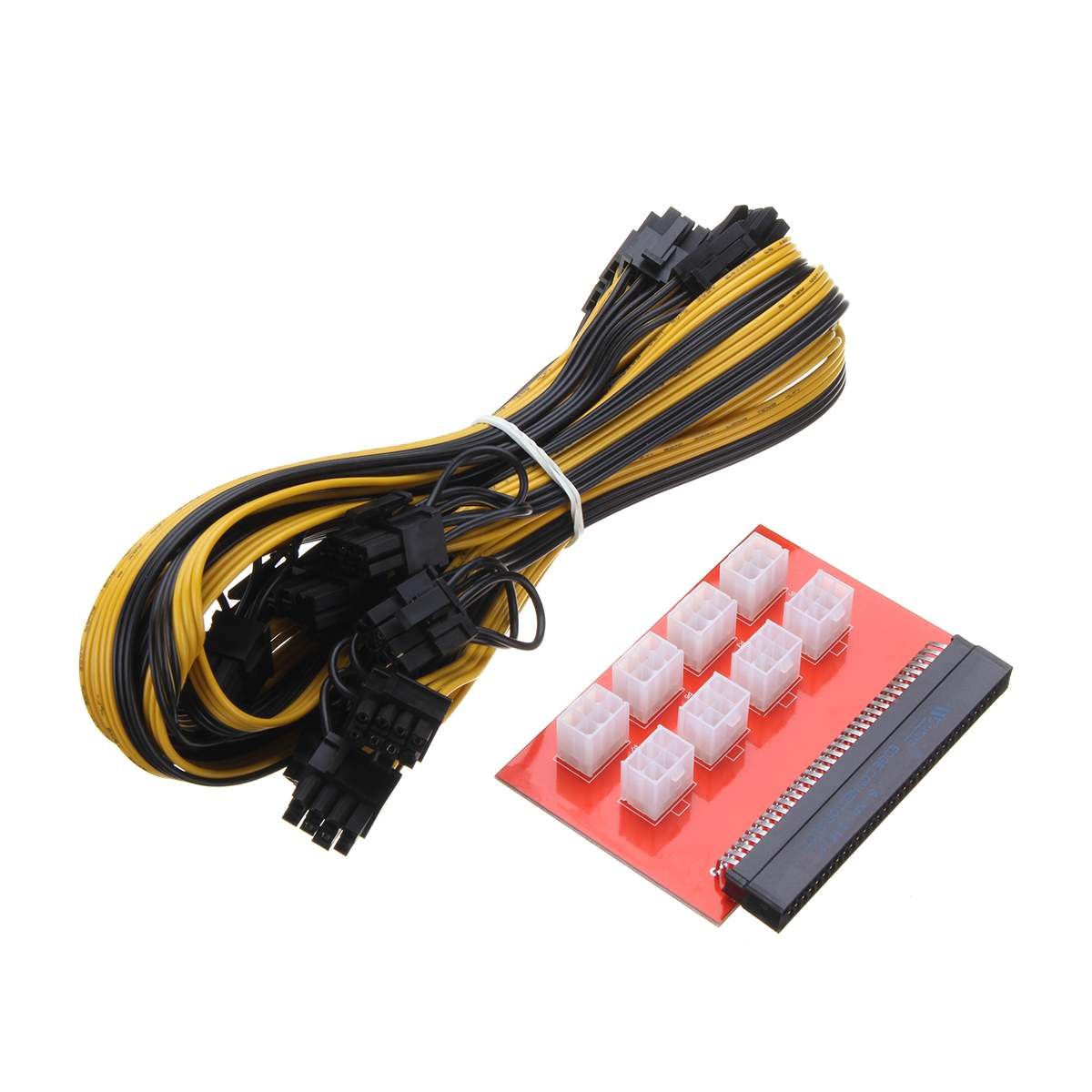 PSU/GPU Mining Power Supply Kit Adapter Breakout Board 1200w/750w + 8pcs 16AWG PCI E 6Pin to 6+2Pin Wire Cables 27.5inch