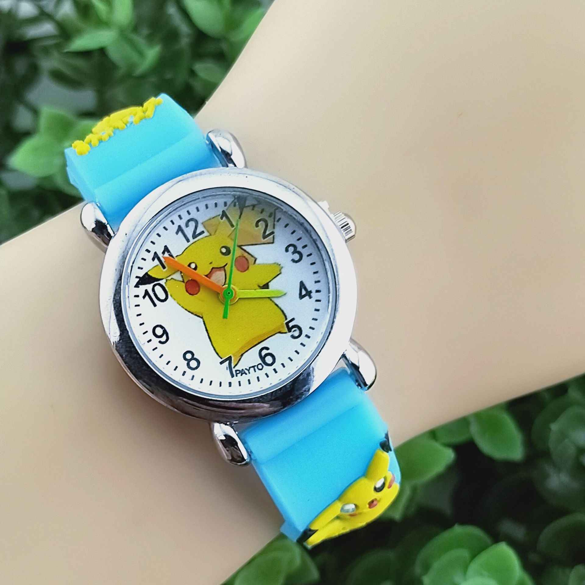 Fashion Cartoon Pikachu children's watches girl and boy kids watch Leather Strap Children watches zegarek dla dzieci relojes
