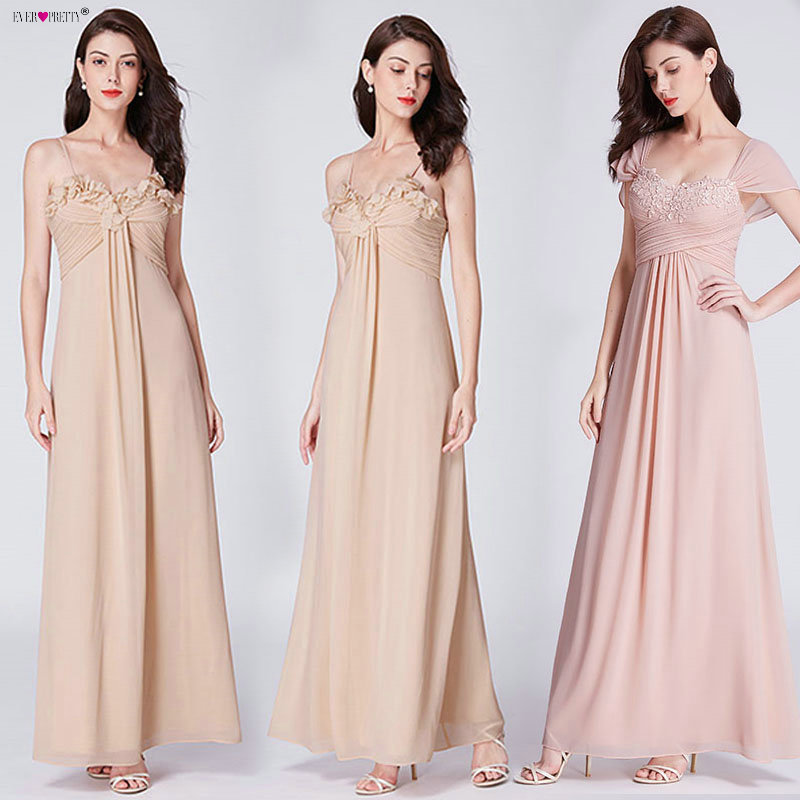 Blush Pink Bridesmaid Dresses Ever Pretty EP07413 Elegant A-line Sleeveless Chiffon  Wedding Party Gowns 39e430592cf6