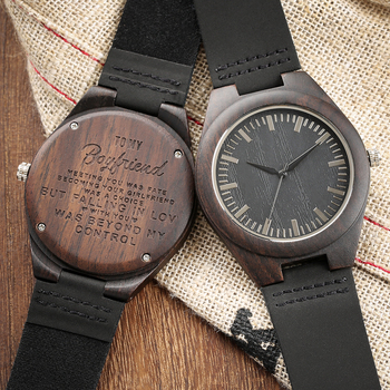 Engraved Woodern Watch DIY Words TO MY Boyfriend Pattern Quartz Wooden Watch Geniur Leather Band Souvenir Gifts For Boyfriend