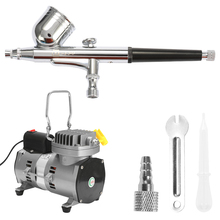 Professional Airbrush Kit With Air Compressor Dual-Action Hobby Spray Air Brush Set Tattoo Nail Art Paint Supply Cleaning Brush