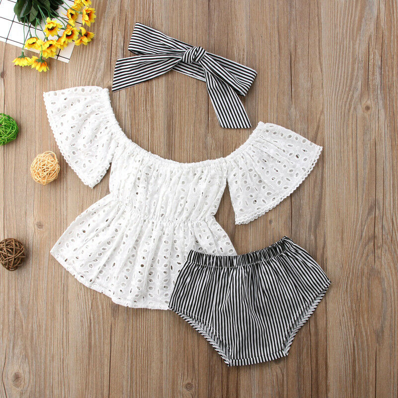 2019 Summer 3pcs Toddler Baby Girl Clothes Set Lace Hollow Out Short Sleeve Top+Stripe Shorts +headband 3Pcs Outfits Set Clothes