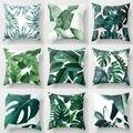 Полиэфирная наволочка с зелеными листьями  подушка для дивана и автомобиля  домашний декор  Новинка
