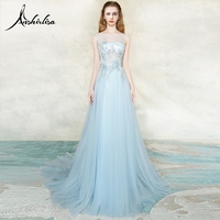 Anshirlisa Women Sweep Train Maxi Evening Dress Illusion Tulle Lace up Elegant Fairy Sky Blue Beading Applique Formal Party Gown