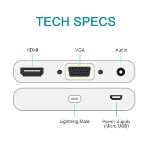 Image 5 - Lighting to HDMI VGA AV Adapter 4 in 1 Plug and Play Digtal AV Adapter for iPhone X / 8 / 8Plus/7/7Plus/6/6s/6s Plus/5/5s iPad