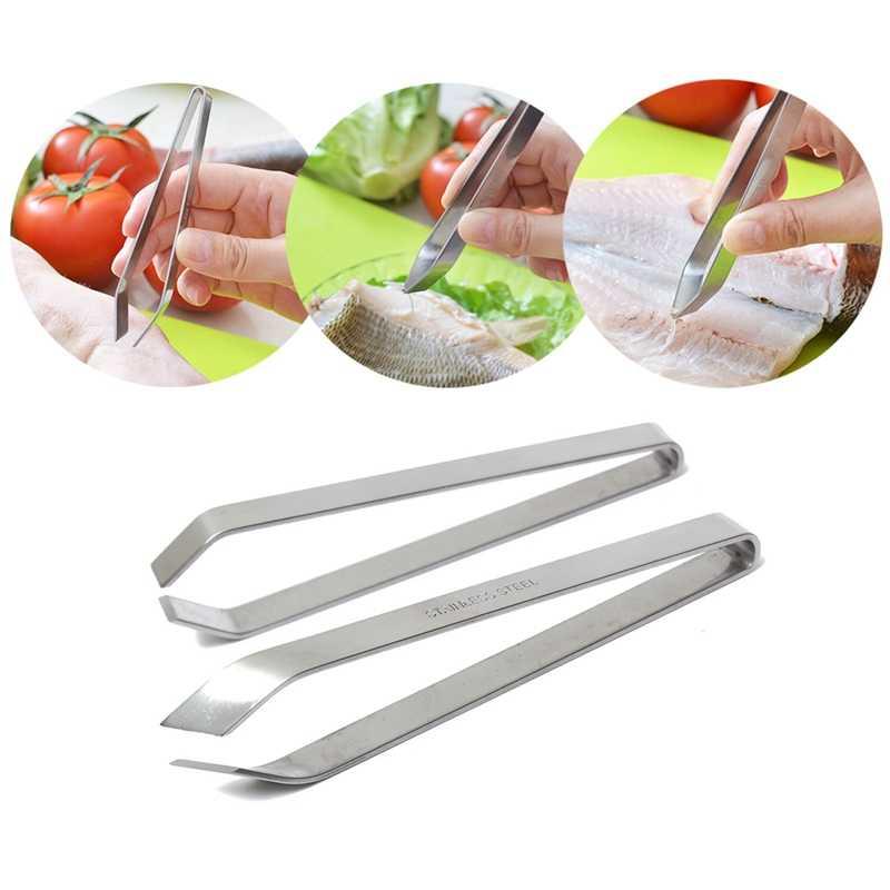 Stainless Steel Fish Bone Tweezers Pincer Clip Food Clamp Tongs Kitchen Tool #