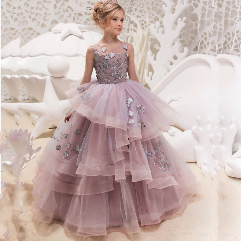 Cheap Girls Tulle O neck Sleeveless Flowers Ball Gowns Floor Length Girls Princess Dress Birthday Party Wedding Gowns 2019
